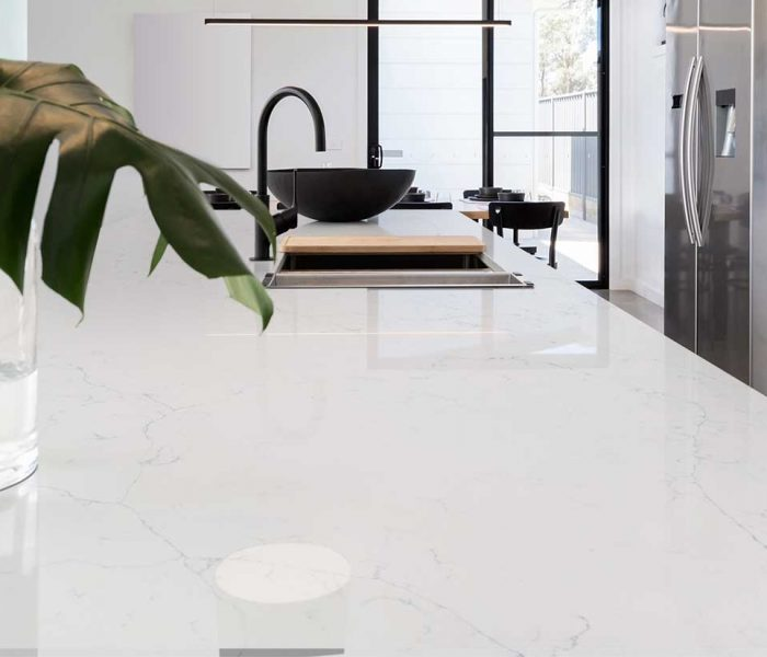 calacatta-botanica-quartz kitchen